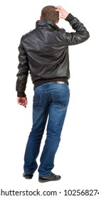 Back view of thinking  man.  embarrassed adult man in black jacket and jeans . Rear view people collection.  backside view of person.  Isolated over white background.