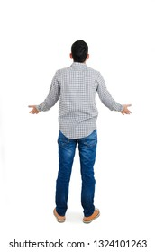 Back view of thinking young man. Rear view. isolated over white background. Concept of idea, ask question, think up, choose, decide.