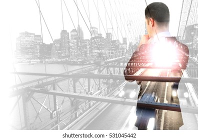 Back view of thoughtful businessperson on city background. Double exposure. Research concept