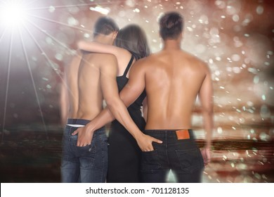 Two gay men and a woman