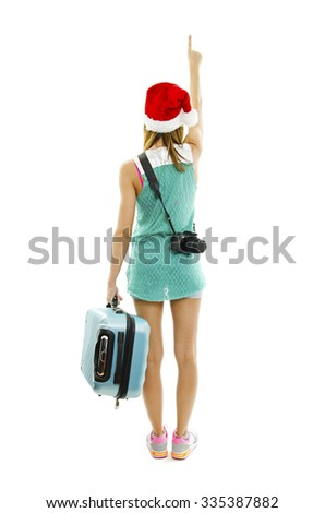 9d11db0dc28 Back View Traveler Santa Hat Camera Stock Photo (Edit Now) 335387882 ...