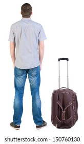 Back view of traveling man with suitcase looking up. Rear view people collection.  backside view of person.  Isolated over white background.