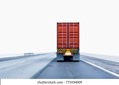 Back view of Truck on road with red container, transportation concept,import,export logistic industrial Transporting Land transport on the expressway.on white background