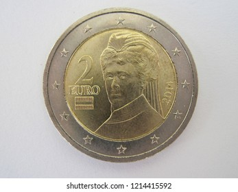 Back view of two euro coin from Austria. Great for numismatic collection. Austrian 2 euros - Bertha von Suttner.