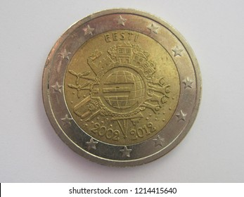 Back view of two euro coin from Estonia.  2 euros - 10 years of euro banknotes and coins. Estonian 2 euro. Great for numismatic collection.