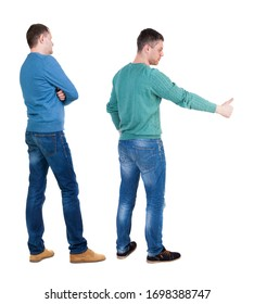 Back view two man in sweater showing thumb up. Rear view people collection. backside view of person. Isolated over white background.