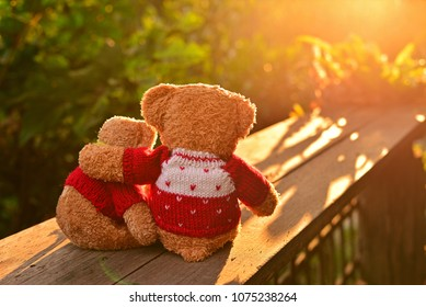 Back view of two teddy bears holding in one's arms with nature background in the north of Thailand, Chaing Mai.Concept about love and relationship.Green Forest with beautiful sunset in the evening