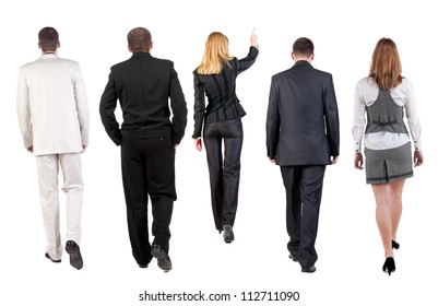 back view of walking business team. group of business people going. Rear view people collection. backside view of person. Isolated over white background.
