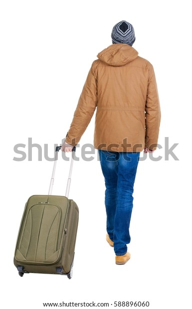 back view of walking  man in park with suitcase. brunette guy in motion. backside view of person. Rear view people collection. Isolated over white background.