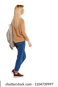 back view of walking  woman  with backpack. backside view of person.  Rear view people collection. Isolated over white background.  hurrying student with a bag