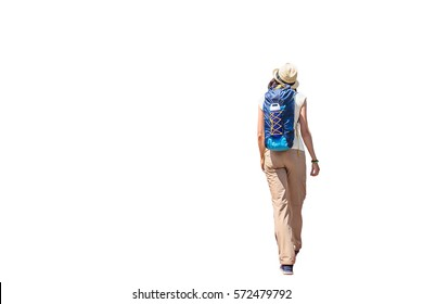 back view of walking woman with backpack isolated with clipping path