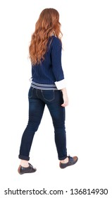back view of walking  woman . beautiful redhead girl in motion.  backside view of person.  Rear view people collection. Isolated over white background. office worker woman going