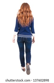 back view of walking  woman. beautiful redhead girl in motion.  backside view of person.  Rear view people collection. Isolated over white background. girl student comes forward