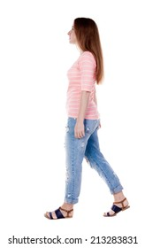 back view of walking  woman . beautiful redhead girl in motion.  backside view of person.  Rear view people collection. Isolated over white background.