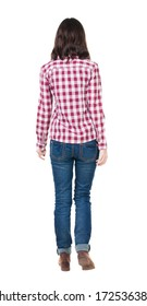 back view of walking  woman in checkered shirt. beautiful brunette girl in motion.  backside view of person.  Rear view people collection. Isolated over white background.