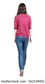 back view of walking  woman in striped sweater. beautiful brunette girl in motion.  backside view of person.  Rear view people collection. Isolated over white background.