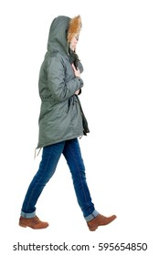 back view of walking  woman in warm jacket. beautiful brunette girl in motion.  backside view of person.  Rear view people collection. Isolated over white background.