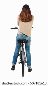 back view of a woman with a bicycle. cyclist sits on the bike. Rear view people collection.  backside view of person. Isolated over white background.