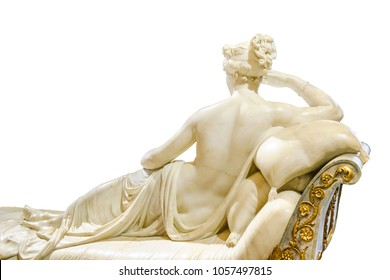 Back view woman sculpture posing at bed photo isolated on white background