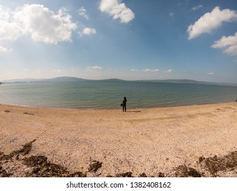 Back view of woman standing on beach and looks at sea against blue sky in Holywood, Northern Ireland, aerial view