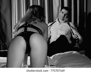 Handsome couple in a erotic play