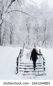 Back view of a woman wearing a hood and walking up some stairs covered with snow, in winter