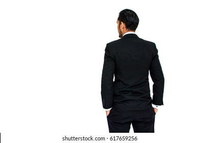 Back view of a young business man