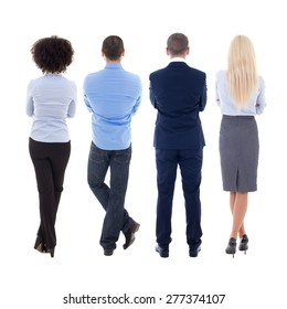 back view of young business people isolated on white background