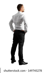 back view of young businessman over white background