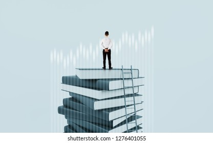 Back view of young businessman standing on abstract book pile. Grow diagram of success
