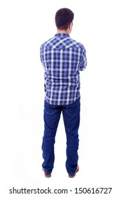 Back view of young casual man, isolated on white