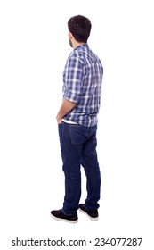 Back view of young casual man, isolated on white background