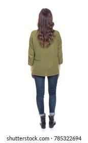 Back view of young casual woman, isolated on white background