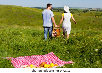 Back view of young couple going home arter picnic, they left fruits and blanket on the grass