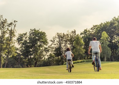 Back view of young dad and his little son in casual clothes riding bikes in park