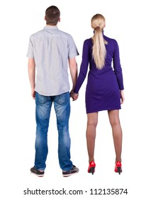 Back view of young embracing couple (man and woman) hug. look up. beautiful friendly girl and guy together. Rear view people collection.  backside view of person.  Isolated over white background.