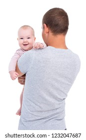 back view of young father holding baby girl isolated on white background