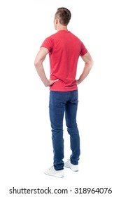 Back view of a young guy in casuals