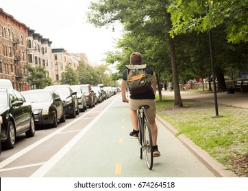 Back view of young hipster caucasian man riding bike on bike lane, photographed in Brooklyn, NY in July 2017
