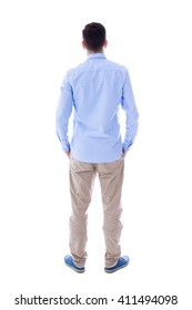 back view of young man isolated on white background