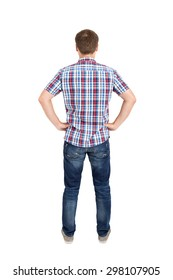 Back view of young men in shirt and jeans. Rear view people collection. Backside view of person. Isolated over white background