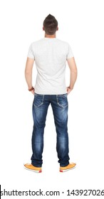 Back view of young men in t-shirt and jeans. Guy looks away. Rear view people collection. backside view of person. Isolated over white background.