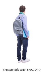 Back view of young student, isolated over white background