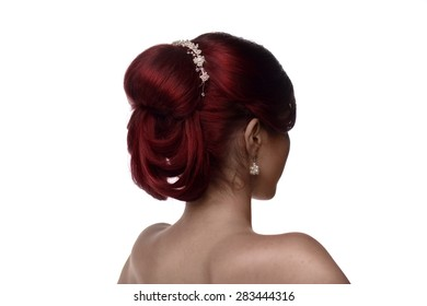 Back view of a young woman with bridal hairstyle