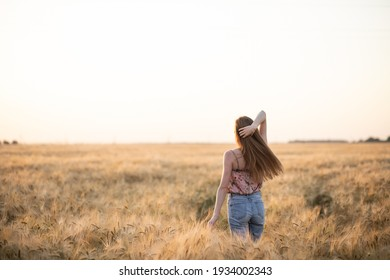 Back view of young woman with long hair in jeans standing alone in a field of golden colored barley at golden hour, copy space