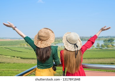 Back view of young woman tourist raised her hands and enjoying their holiday in tea plantation field in Chiang Rai province, Thailand.