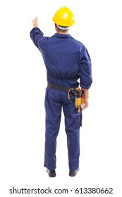 Back view of a young worker pointing, isolated on white background