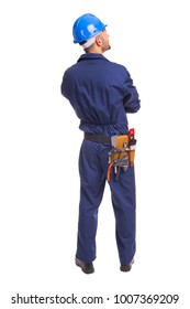 Back view of young worker standing on a white background