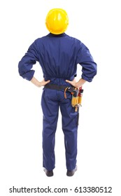 Back view of a young worker standing on white background