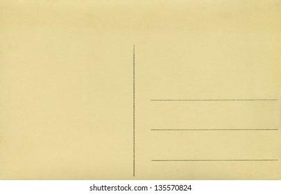 Back of vintage blank postcard.